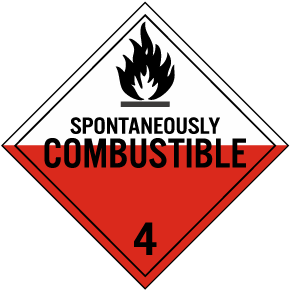 Spontaneously Combustible Class 4 Placard