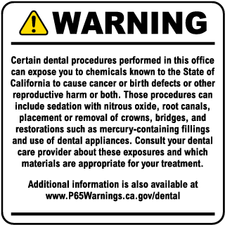 Dental Care Exposure Warning Sign