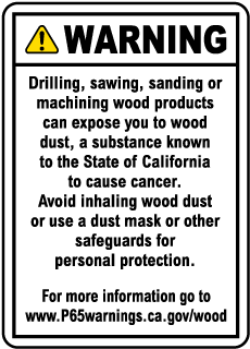Raw Wood Product Exposure Point of Sale Warning Sign