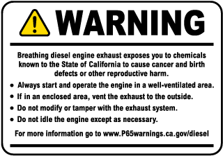 Diesel Engine Exposure Warning Label