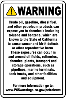 Petroleum Products Warning Sign