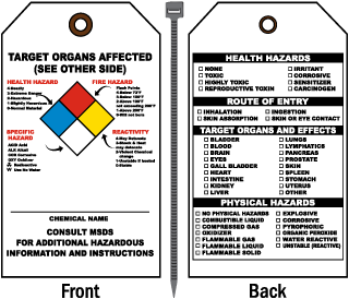 NFPA Target Organs Affected Tag