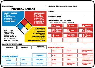NFPA Chemical ID Container Label