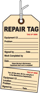 2-Part Perforated Repair Tag