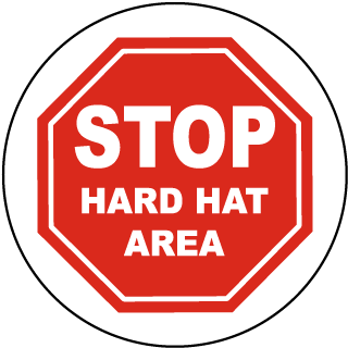 Stop Hard Hat Area Floor Sign
