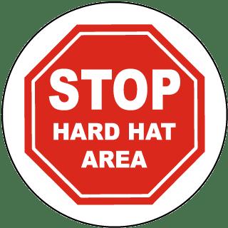 Stop Hard Hat Area Floor Sign