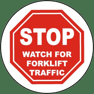 Stop Watch For Forklift Floor Sign