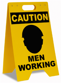 Caution Men Working Floor Sign