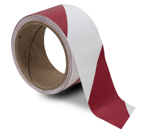White / Red Striped Floor Tape