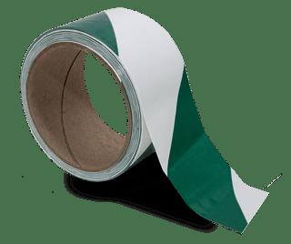 White / Green Striped Floor Tape