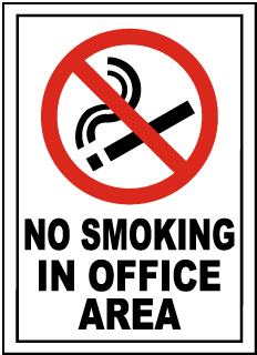 No Smoking In Office Area Sign