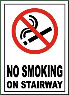 No Smoking on Stairway Sign