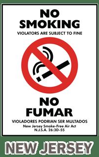 Bilingual New Jersey No Smoking Sign