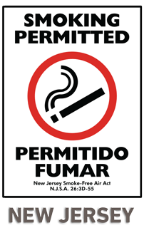 Bilingual New Jersey Smoking Permitted Sign