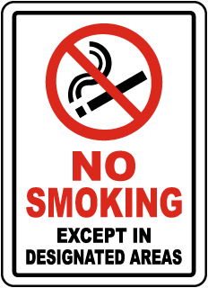 No Smoking Except In Designated Areas Label