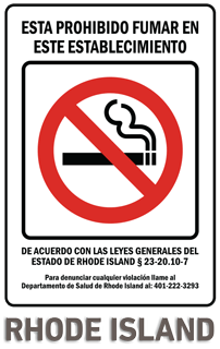 Rhode Island No Smoking Sign