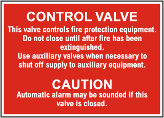 Fire Protection Equipment Control Valve Sign