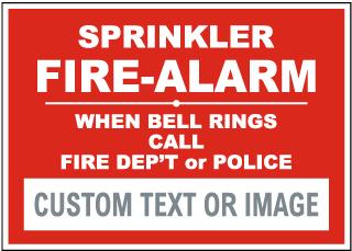 Custom Sprinkler Fire Alarm Sign