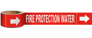 Fire Protection Water Label on a Roll