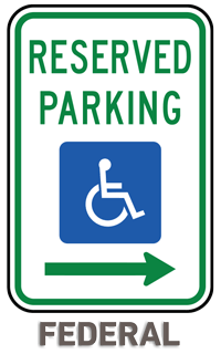 Federal Handicap Parking Sign (Right Arrow)