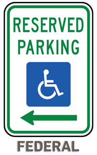 Federal Handicap Parking Sign (Left Arrow)