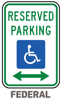Federal Handicap Parking Sign (Double Arrow)