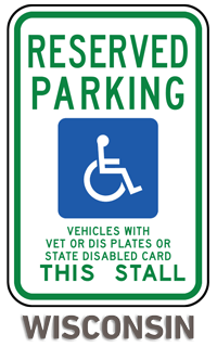 Wisconsin Accessible Parking Sign