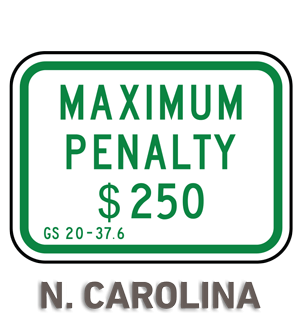 North Carolina Accessible Parking Penalty Sign