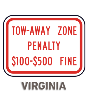 Virginia Tow Away Zone Penalty Sign