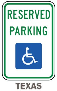 Texas Reserved Parking Sign