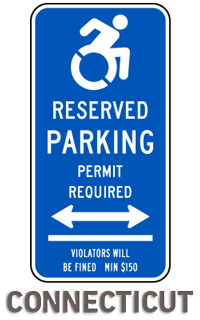 Connecticut Handicap Parking Sign (Double Arrow)