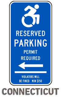 Connecticut Handicap Parking Sign (Left Arrow)