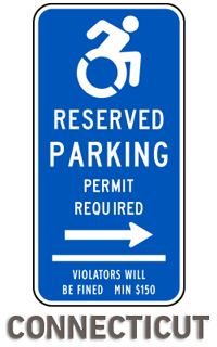 Connecticut Handicap Parking Sign (Right Arrow)