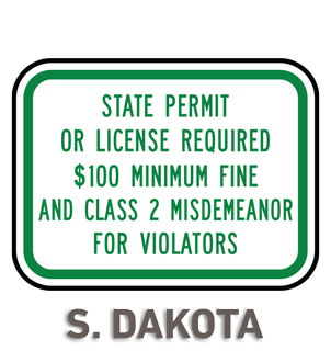 South Dakota Accessible Parking Penalty Sign