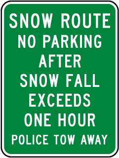 Snow Route No Parking Sign