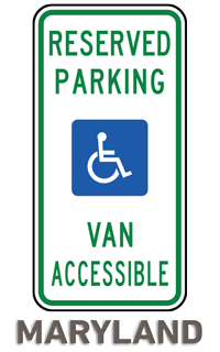 Maryland Accessible Parking Sign