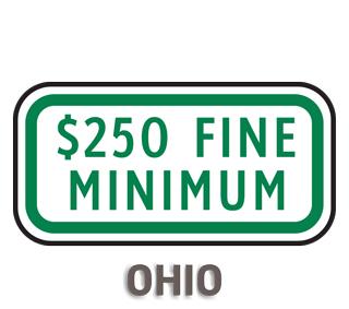 Ohio $250 Fine Minimum Sign