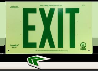 Luminous Unframed Green Exit Sign