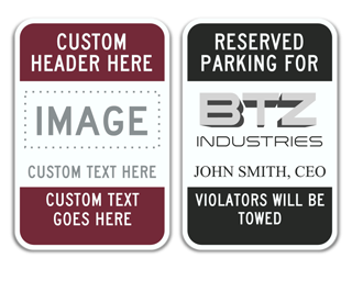 Parking Sign with Custom Header and Clipart