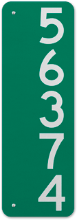 Green Vertical House Number Sign