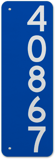 Blue Vertical House Number Sign