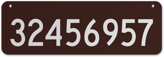Brown Horizontal House Number Sign