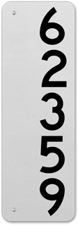 White Vertical House Number Sign