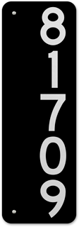 Black Vertical House Number Sign