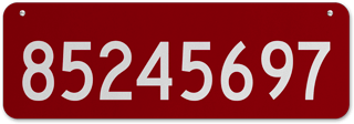 Red Horizontal House Number Sign