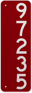 Red Vertical House Number Sign