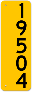 Yellow Vertical House Number Sign