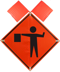 Flagger Symbol with Flags Sign