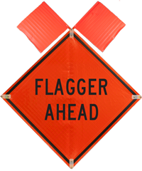 Flagger Ahead with Flags Sign