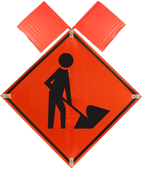Men At Work with Flags Sign